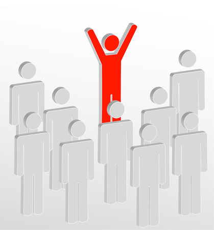 stick figure people with one person addressing the crowd - vector Vector