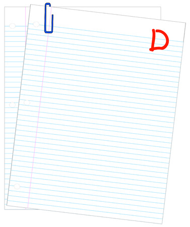 d mark: lined paper marked with D- - failing mark or grade - vector