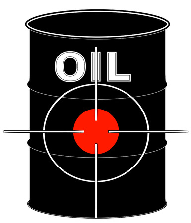 natural gas production: black oil barrel with crosshair target on it - vector