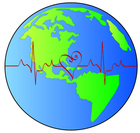 globe or earth with red heart beat pulsing across it - vector Vector