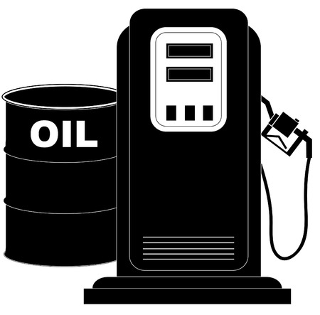 industrialization: oil barrel supplying the demand of fuel or gas pump - vector