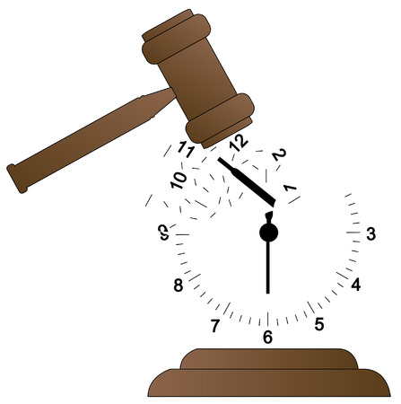 scattering: gavel smashing clock and scattering it - time concept - vector Illustration