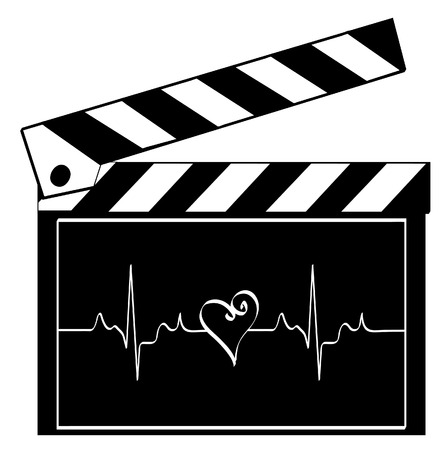 entertainment industry: clapboard with heart rhythm running across it - heart of entertainment industry - vector