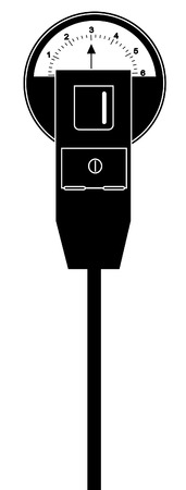 drive ticket: black silhouette of parking meter with three hours time - vector