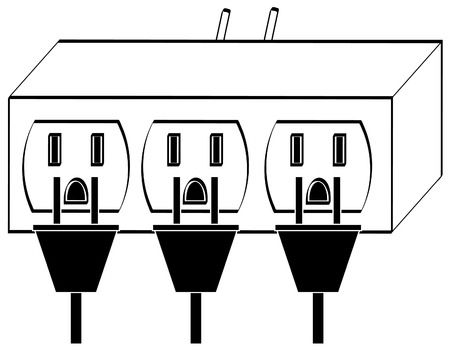 electrocute: overloaded electrical power outlet full with plugs - vector