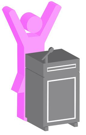 stick woman or figure standing behind podium - vector Vector