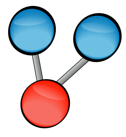 hydrogen: two hydrogen and one oxygen - water molecule - vector Illustration