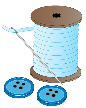 dressmaking: blue spool of thread with threaded needle and buttons - vector Illustration