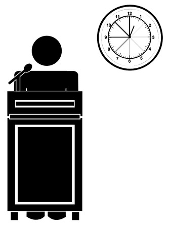 stick man or figure standing at podium with clock - long speech or presentation - vector Vector
