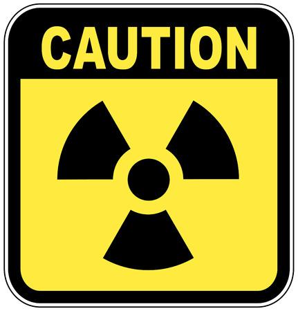 sustancias toxicas: insignia activa de radio en la muestra amarilla de la precauci�n - vector