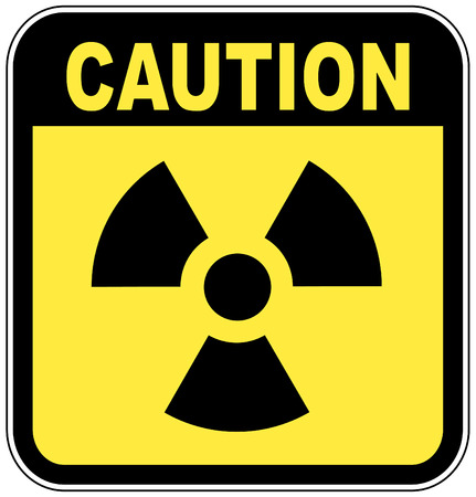 danger chimique: radio active logo jaune sur le panneau avertisseur - vecteur