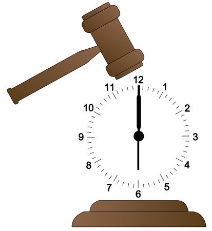 gavel about to smash clock face into pieces - vector Vector