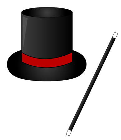 black magic hat with red ribbon and magic wand - vector