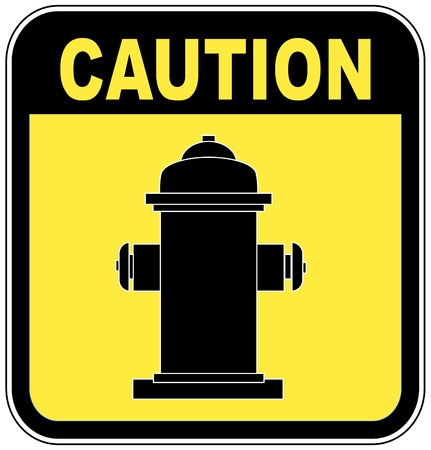 fire plug: caution - fire hydrant sign in yellow and black - vector