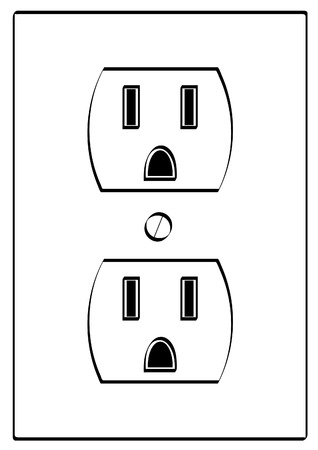 polarity: outline of grounded electrical power outlet - vector