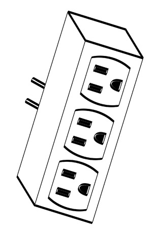 overloaded: black outline of electrical outlet adapter - vector
