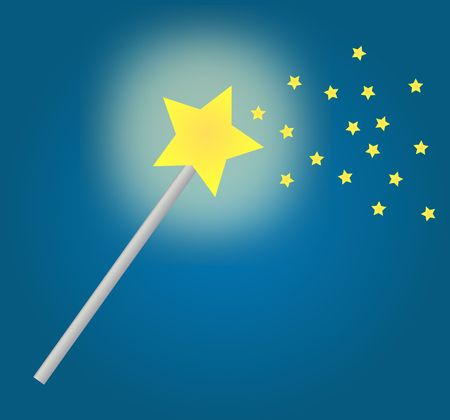 witchery: fairy wand with magic stars on blue background - vector
