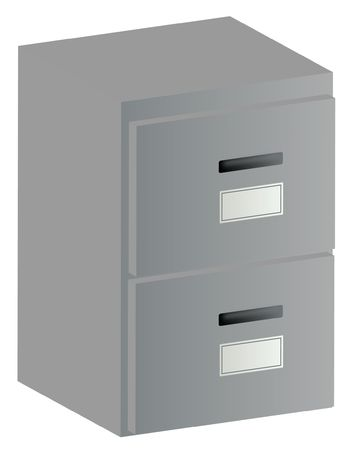 3d two drawer grey filing cabinet with handles and labels  Stock Photo - 2854220