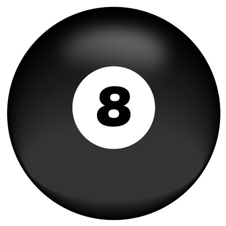 eightball: black eight ball on white background - behind the eight ball - vector Stock Photo