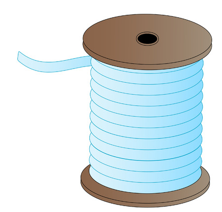 spool of blue thread on wooded spool - vector Vector
