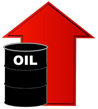 hydrocarbon: black barrel of oil with rising red arrow behind - vector Illustration