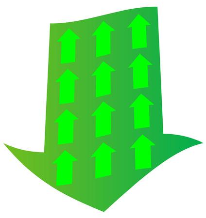 opposing: green downward arrow with opposing upward arrow inside - vector Illustration