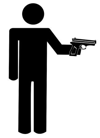 mano pistola: bastone uomo o cifra armato di pistola a mano - vettore