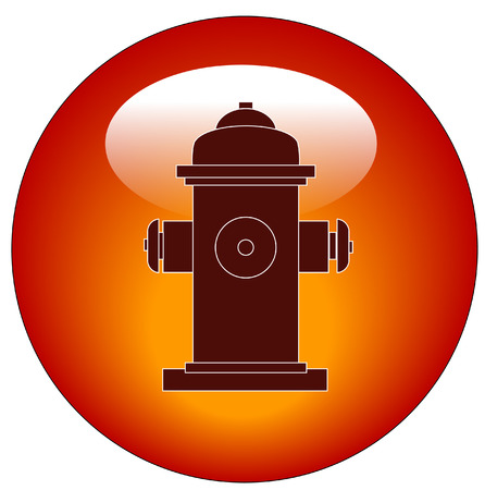 fire plug: red fire hydrant web button or icon - vector