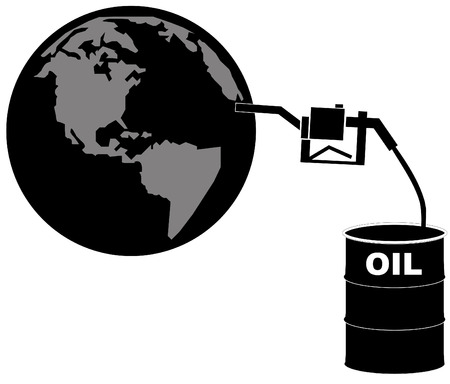 pumping: black barrel of oil pumping fuel into the earth - vector