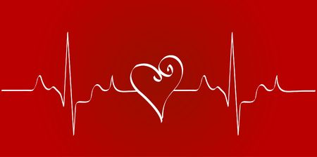 cardioid: heart cardiogram with heart on red background - vector Stock Photo