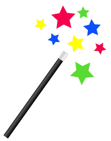 magic trick: magic or magicians wand with bright stars - vector