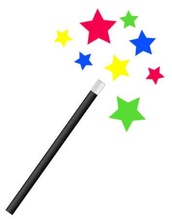 fee zauberstab: Magie oder Zauberer Zauberstab mit hellen Sternen - Vektor
