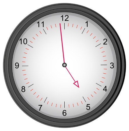 shift: grey clock showing one minute to five - quitting time