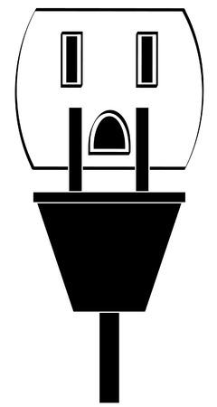 recarga: tierra toma de corriente con el cable o el enchufe - vector