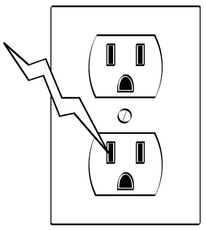 electrocute: grounded electrical or power outlet with bolt of electricity - vector Illustration