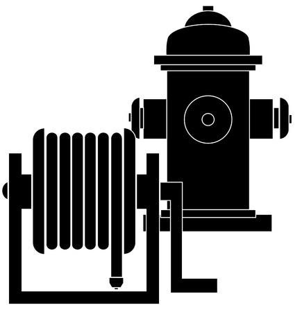 safe water: silhouette of hose reel and fire hydrant - vector Illustration