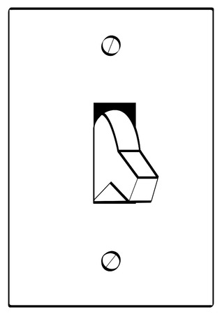 command button: outline of light switch turned to off position - vector