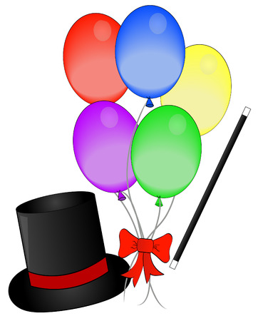 specs: magic hat and wand with balloons - concept magic show - vector