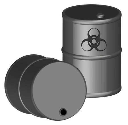 poison symbol: two 3d barrels with biohazard chemicals