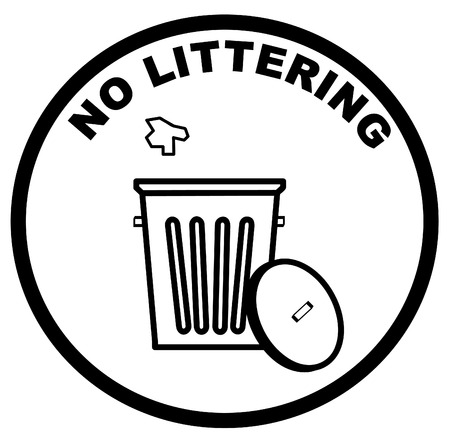 refuse: garbage can with litter inside warning sign of no littering - vector
