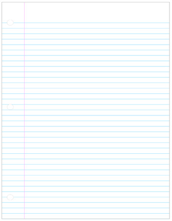 holed: perfect sheet of three holed lined paper - vector