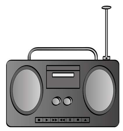 boombox: grey or silver music stereo or radio boombox - vector