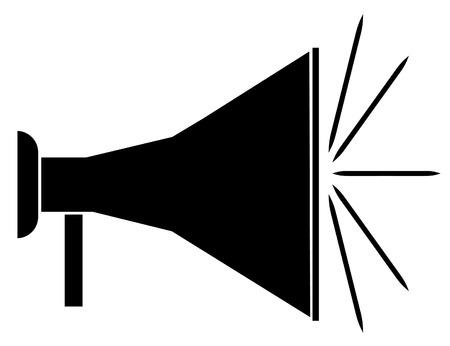 mega phone: silhouette of black bullhorn or megaphone - vector Illustration