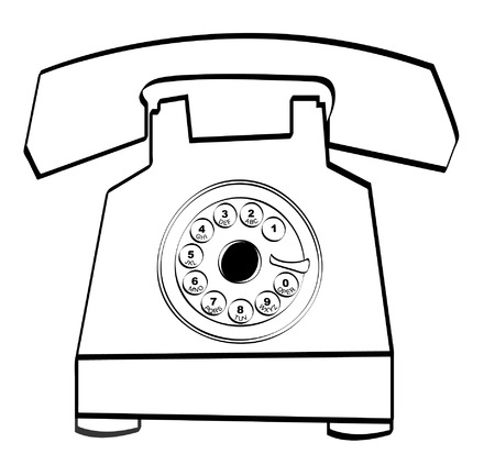 rotary: black outline of retro rotary style telephone - vector Illustration