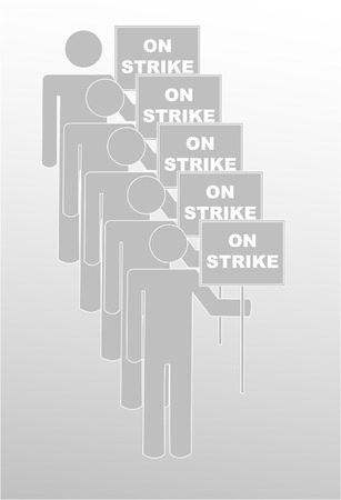 freedom of expression: labor protest - stick figures holding signs that say on strike - vector