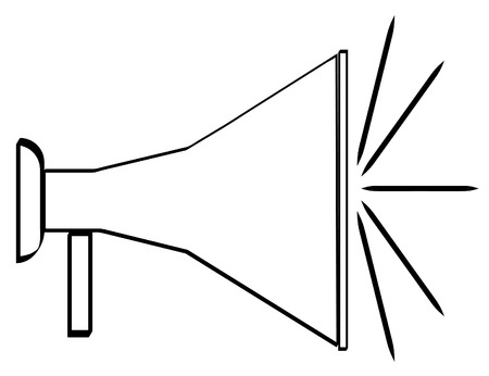 outline of black bullhorn or megaphone - vector Vector