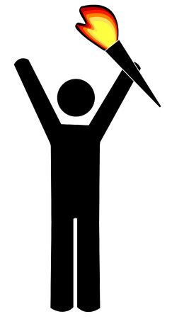 flame: stick figure or man carrying torch with red flame - vector Illustration