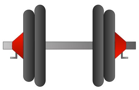 gym equipment: dumbell peso o con due pesi su entrambi i lati - vettore Vettoriali