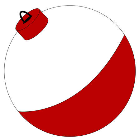 fishing pole: red and white fishing bobber isolated on white - vector