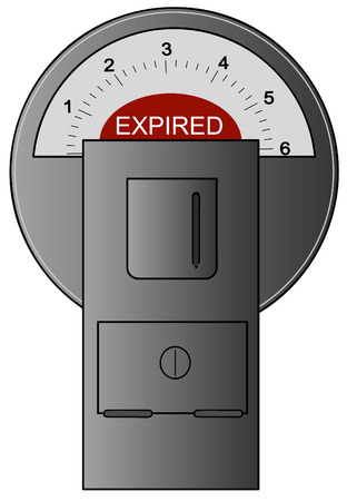 fined: grey parking meter with red expired label showing - vector Illustration